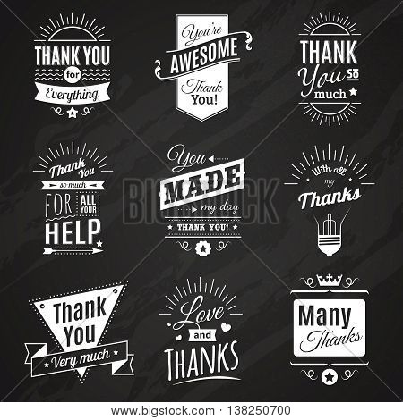 Chalkboard collection of nine vintage thank you signs making in different fashioned font style vector illustration