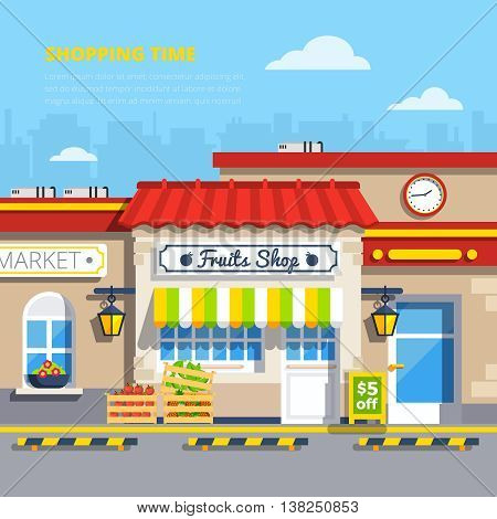 Street shops retro design concept with fruits shop in center and boxes of apples and strawberries on sidewalk flat vector illustration