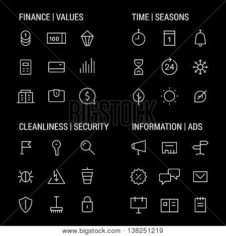 Icons sets: finance and values, time and seasons, cleanliness and security, information and ads.