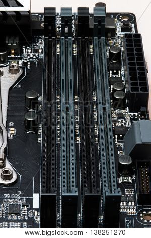New powerful black computer motherboard. High-Tech solution.
