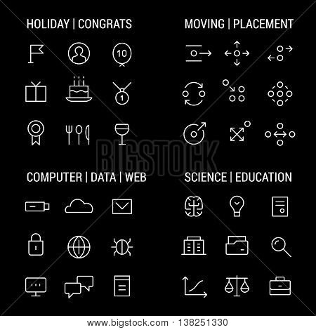 Icons sets: holidays and congrats, moving and placement, computer and web, science and education.