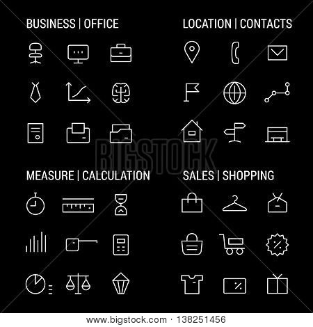 Icons sets: business and office, location and contacts, measure and calculation, sales and shopping.