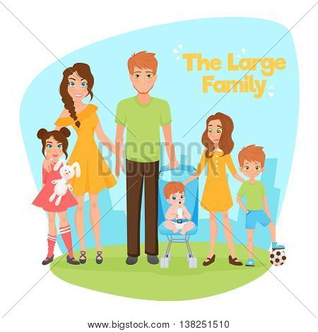 Large family design concept with young parents two daughters son and little baby flat vector illustration