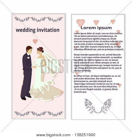wedding invitation with bride and groom, vector background