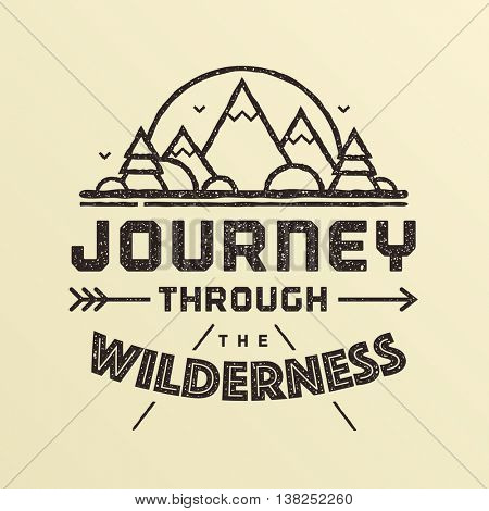 Journey through the wilderness. Summer camping emblem, badge, sticker, stamp in vintage style. Vector illustration.
