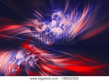 red blue haze feather fractal background. Cover design template layout for corporate business card book booklet brochure flyer poster banner. Fractal artwork for creative design.