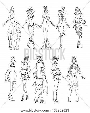 Fashion Model sketch collection hand drawn vector
