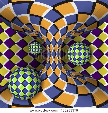 Optical illusion of rotation of three balls around of a moving hyperboloid. Abstract background.