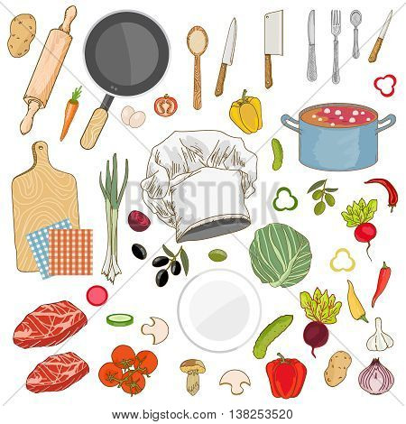 Food ingredients collection cap cook fresh vegetables cooking utensils hand drawn vector