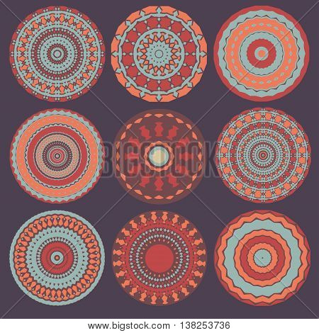 vector round colorful mandalas, round ethnic decorative elements