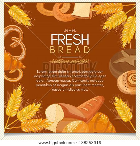 Fresh bread bakery products background buns pastries vector template