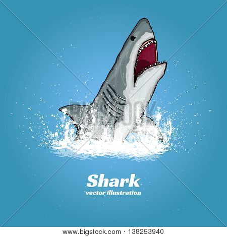 Great white shark jumping out of the water t-shirt print vector illustration