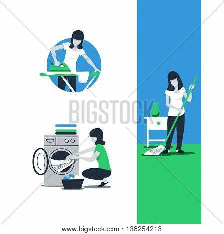 House work and household, neat home, routine chores, woman cleaning service