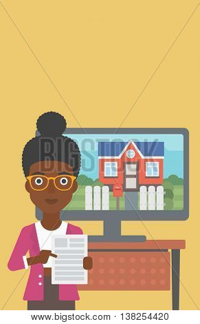 An african-american young woman standing in front of tv screen with house photo on it and pointing at a real estate contract. Vector flat design illustration. Vertical layout.