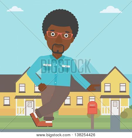 An african-american real estate agent standing near the house. Real estate agent leaning on the house. Real estate agent offering house. Vector flat design illustration. Square layout.