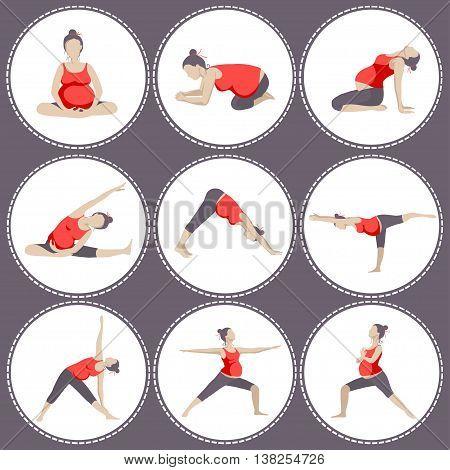 Set of 9 Yoga poses for Pregnant women. Prenatal exercise. Vector illustration.