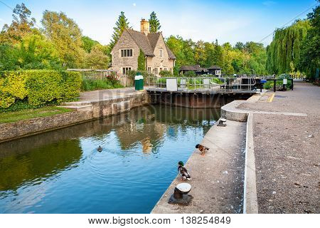Iffley Lock on the River Thames. Oxford Oxfordshire England