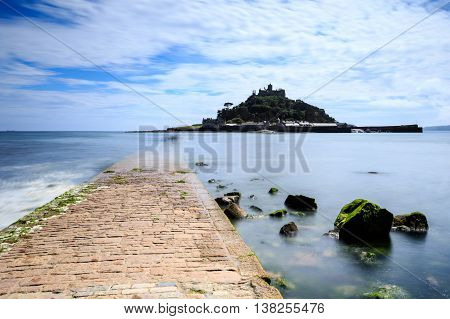 st michaels mount with causeway Marazion in Cornwall UK.