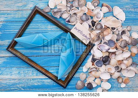 Paper Boat With Shells And Photo Frame