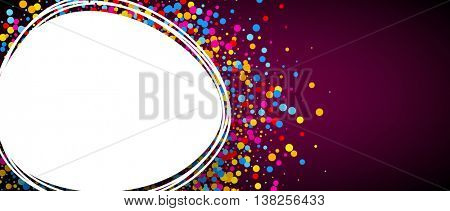 Vinous and white background with colour confetti. Vector paper illustration.