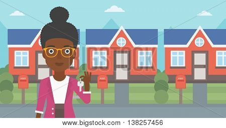 Young female real estate agent holding key. An african-american woman with keys standing in front of the house. Happy new owner of a house. Vector flat design illustration. Horizontal layout.
