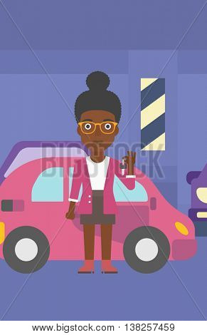 An african-american woman holding keys to her new car. Happy young woman showing key to her new car on the background of car shop. Woman buying car. Vector flat design illustration. Vertical layout.