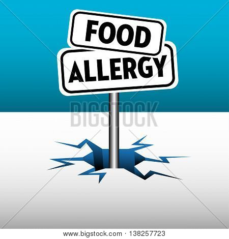 Colorful background with two plates with the text food allergy