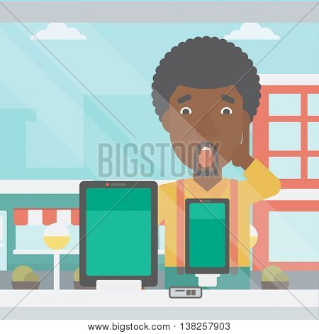 Astonished man looking at digital tablet and smartphone through the shop window. An african-american man with open mouth looking at tablet and phone. Vector flat design illustration. Square layout.