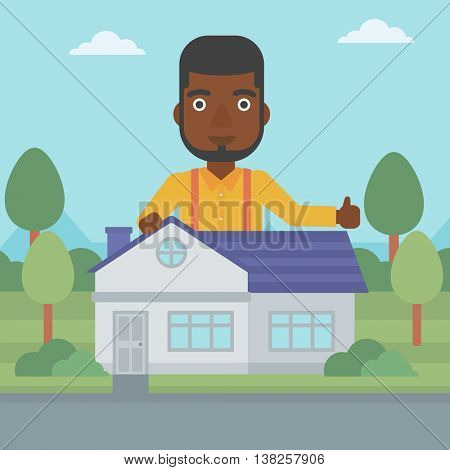 An african-american man standing behind the house and showing thumb up. Real estate agent offering the house. Young man giving thumbs up. Vector flat design illustration. Square layout.