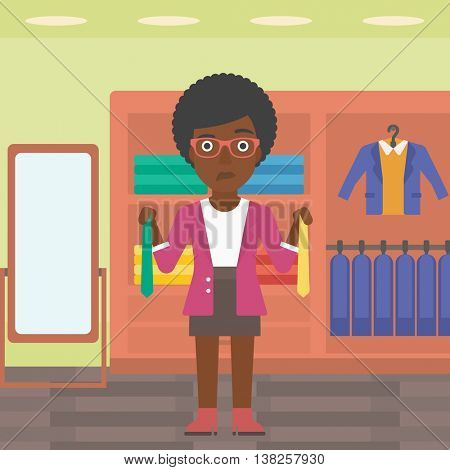 Thoughtful woman holding two neckties and trying to choose the best one. An african-american female customer choosing necktie at clothing store. Vector flat design illustration. Square layout.