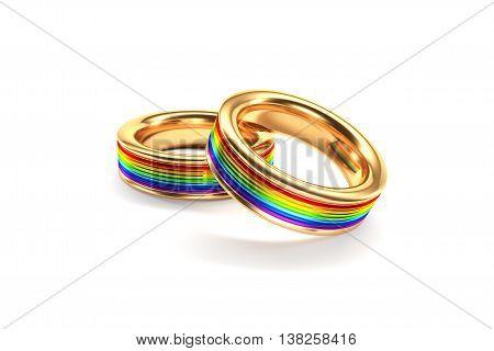 3d illustration Wedding Rings symbolizing the same sex marriage