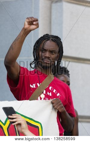 Black Lives Matter Protestor During March On City Hall