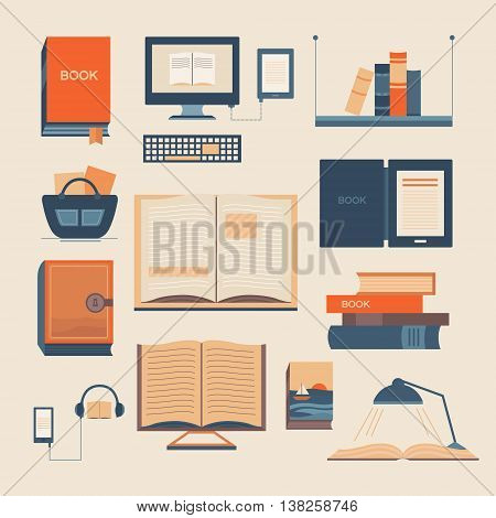 Vector set of books. Collection of vector elements with open book ebook bookshelf audiobook a stack of books. Background for banners invitation cards web pages covers advertising.
