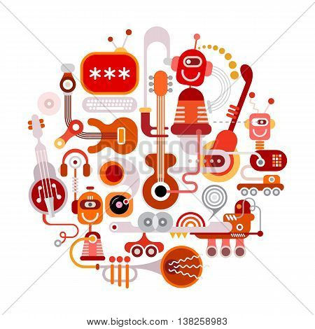 Futuristic recording studio graphic illustration. Round shape art collage of a musical instruments robots and electronic equipment isolated on a white background.