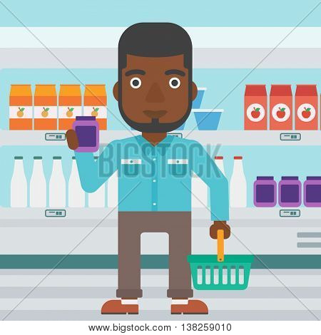 An african-american young man holding shopping basket in one hand and a milk product in the other. Male customer shopping at supermarket with basket. Vector flat design illustration. Square layout.
