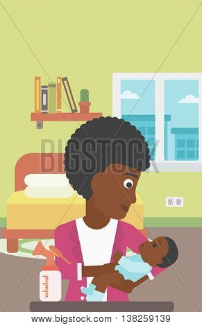 An african-american mother holding a newborn baby in hands and a breast pump standing on the table in front of her. Young mother feeding her baby. Vector flat design illustration. Vertical layout.