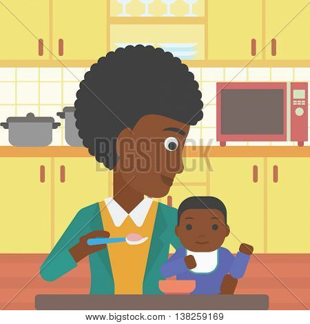 An african-american mother feeding baby at home. Young mother teaching baby to eat with spoon. Mother spoon-feeding her baby at kitchen. Vector flat design illustration. Square layout.