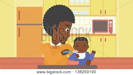An african-american father feeding baby at home. Young father teaching baby to eat with spoon. Father spoon-feeding her baby at kitchen. Vector flat design illustration. Horizontal layout.