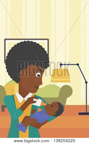 An african-american young mother feeding baby boy with a milk bottle. Mother feeding newborn baby at home. Baby boy drinking milk from bottle. Vector flat design illustration. Vertical layout.