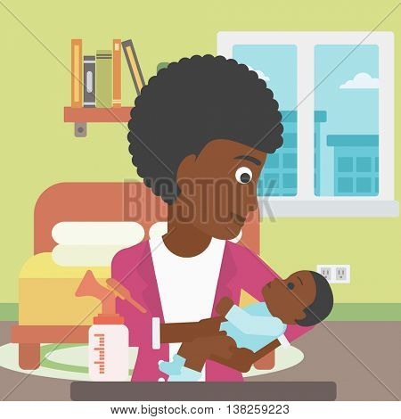 An african-american mother holding a newborn baby in hands and a breast pump standing on the table in front of her. Young mother feeding her baby. Vector flat design illustration. Square layout.