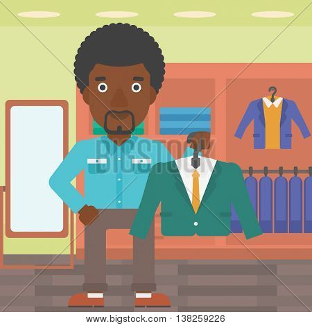 An african-american man holding hanger with suit jacket and shirt. Man choosing suit jacket at clothing store. Shop assistant offering suit jacket. Vector flat design illustration. Square layout.