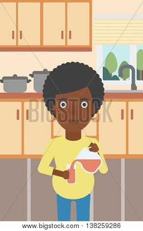 An african-american pregnant woman pouring juice in glass. Pregnant woman drinking juice. Concept of healthy nutrition during pregnancy. Vector flat design illustration. Vertical layout.