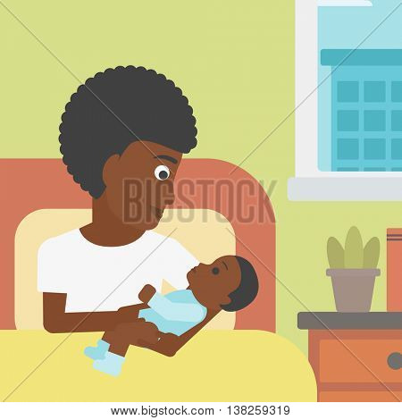 An african-american mother holding newborn in maternity ward. Mother nursing baby. Mother and infant resting at hospital. Happy mother with newborn. Vector flat design illustration. Square layout.