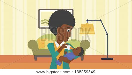 An african-american young mother feeding baby boy with a milk bottle. Mother feeding newborn baby at home. Baby boy drinking milk from bottle. Vector flat design illustration. Horizontal layout.