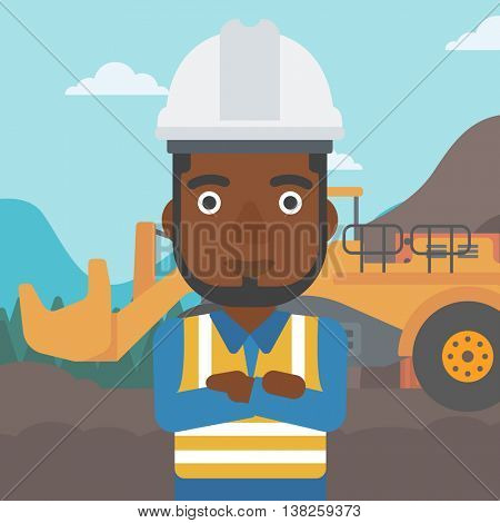 An african-american confident coal miner. A miner standing in front of a big mining equipment on the background of coal mine. Vector flat design illustration. Square layout.