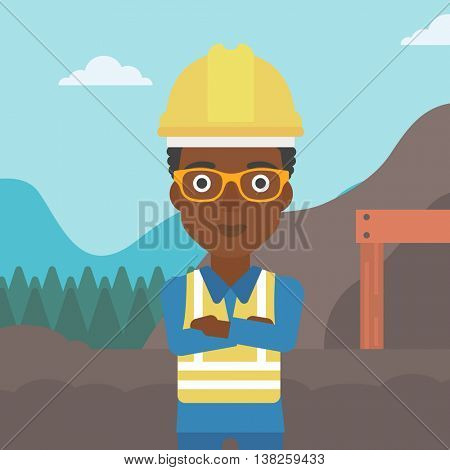 An african-american confident coal miner. Female miner standing in front of a big mining equipment on the background of coal mine. Vector flat design illustration. Square layout.