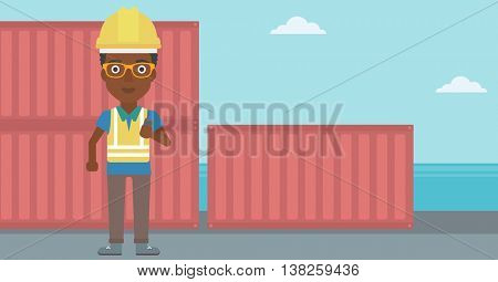 An african-american port worker talking on wireless radio. Port worker standing on cargo containers background. Woman using wireless radio. Vector flat design illustration. Horizontal layout.