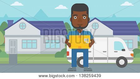 An african-american delivery man with box on background of delivery truck. Delivery man carrying cardboard box. Man with a box in his hands. Vector flat design illustration. Horizontal layout.