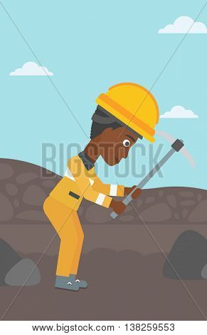 An african-american female miner working with a pickaxe. Mine worker in hard hat. Miner at the coal mine. Vector flat design illustration. Vertical layout.