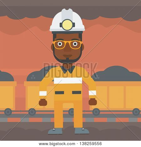 An african-american confident coal miner. Male miner in hardhat with torch. Miner standing on the background of mining tunnel with cart full of coal. Vector flat design illustration. Square layout.